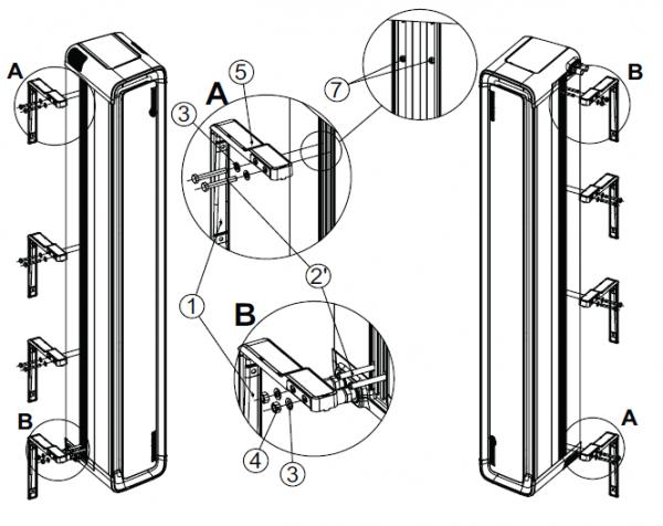 Вертикальный монтаж воздушной завесы Defender